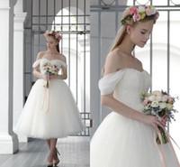 Wholesale Tulle Wedding Ball Gown Corset - Vintage Tea Length Tulle Ball Gowns Wedding Dresses off Shoulder vestido de novia Lace Corset Bridal Gowns