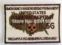 Wholesale Wholesale Customized Patches - Zombie Undead Killer Hunting Permit MORALE Movie Embroidered LOGO Iron On Patch Emo Goth Punk Customized patch available party favor