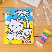 Wholesale Color Sand Art Painting Kits - Wholesale-30sets lot 15*21cm DIY Kids Color Sand Art Painting Kits Card Drawing With 6 Colors Sand Preschool Educational Toys