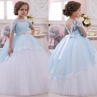Wholesale Tiered Flowergirl Dress - Lovely Flowergirl Floor Length Dresses Formal Wear 2016 Cute Sheer Lace Applique Jewel Short Sleeve Puffy Tulle Communion Dress for Girls