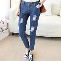 Wholesale Cute Ripped Jeans - Wholesale- Cheap wholesale 2017 new Autumn Winter Hot sale women's fashion casual student cute loose hole nine minutes popular jeans