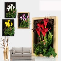 Wholesale Paintings Calla Lilies - High simulation 3D artificial PU flowers Calla lily Plant frame bonsai wall painting fresco Three-dimensional mural Plant frame