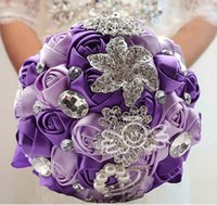 Wholesale Brooch Bouquet Supplies - 2016 Purple Wedding Bridal Bouquets with Handmade Rose Flowers Peals Crystal Rhinestone Wedding Supplies Bride Holding Brooch Bouquets