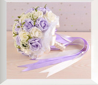 Wholesale Cheap Dried Flowers - 2017 Cheap Artificial Wedding Bouquets In Stock Sparkly Pearls Pink and White Bridal Bridesmaids Bouquet Beautiful Bride Vintage Hand Flower