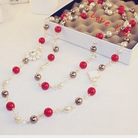 Wholesale Gold Chain Link Costume Necklace - Sweater Necklace & Pendant Fashion Pearl Beads Chain Necklace for Women Long Necklace Wedding Party Costume Jewelry Korean Brand