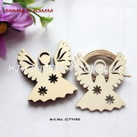 """Wholesale Unfinished Wood - (50pcs lot) 63mm Blank Unfinished Wood Angel Rustic Tags Christmas Ornaments Free Strings 2.5""""-CT1160"""