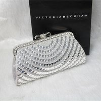 Wholesale Vintage Wedding Bridal Women Fashion Rhinestone Crystal Bowknot PU Shoulder Bag Silver Evening Clutch Bag Wallet Purse Handbag