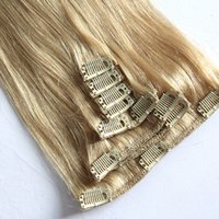 Wholesale straight clip human hair extensions - 8A Grade --20'' 7pcs set  150g Indian human hair Ombre T2 613# straight Clip hair extensions