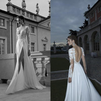 2016 A Linea Abiti da Sposa Abiti Berta Bridal Plunging V Neck Illusion Long Sleeve Backless Side Slit Pizzo Chiffon Formale