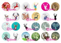 Wholesale Glass Reindeer - Interchangeable 18mm Cabochon Glass Stone Buttons Cabochon Moose Reindeer Buttons for Snap Jewelry Bracelet Necklace Ring Earrings
