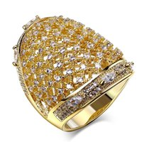 Wholesale Gold Jewelery Sets - Awesome Jewelery! Lovely Big Ring! Rhodium and Gold Plated Paving setting with AAA Cubic Zirconia stones Large Rings