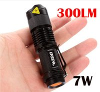 Wholesale Cree 7w Flashlight - Free epacket, 5 Colors Flash Light 7W 300LM CREE Q5 LED Camping Flashlight Torch Adjustable Focus Zoom waterproof flashlights Lamp
