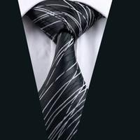 Wholesale Mens Silk Cravats - New Arrivial Black Mens Ties White And Black Stripes Casual Activity Cheap Neck Ties Classic Normal Woven Cravat D-1171