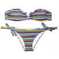 Nuovo costume da bagno! Colloyes Multi Stripe Bandeau Purple / White Top a Sexy Open V Wire al centro davanti Bikini Swimwear