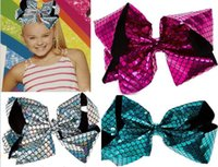 Wholesale Large Black Hair Bow - NEW ARRIVAL 8INCH LARGE JoJo Siwa Silver Holographic Mermaid Hair Bow Dance Hair Bows Cheerleader Bow FOR TEEN GIRLS Hair accessories 20PCS