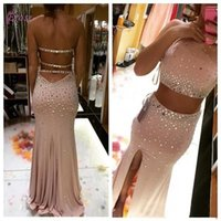 Due abiti Pezzi Abiti 2016 di cristallo Mermaid Prom Dresses Women Sexy Halter strass lungo Backless Front Side Split sera abiti da festa