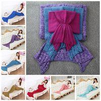 Wholesale Crocheted Mermaid - Mermaid Tail Blanket Warm Super Soft Blanket 140*70cm Kids Handmade Crochet Knitted Sofa Blanket 50pcs OOA2884