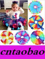 Wholesale Christmas Blouses - Kids Girl Baby Gauze Skirt TUTU rainbow Girl Bust bitter fleabane Skirt 7 colors options S   M  L MOQ=3pcs Freeship