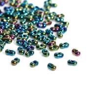 import von schmuck großhandel-Japan-Import-Glassaat-Korn-Beere dunkelgrün AB Farbe Ungefähr 4mm x 2mm, Loch: 0.8mm, 10 Gramm (ungefähr 30 PC / Gramm) Neuer Schmuck, der DIY herstellt