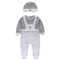 Wholesale Toddler Girl Spring Hats - Baby Suits stripe Kids Toddler Infant Casual long sleeve rompers +hat 2pcs sets pajamas newborn clothes