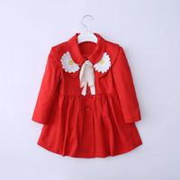 Wholesale Girls Lovely Coats - 2016 Autumn Children Tench Coats Korean Style Girls Long Sleeved Big Flower Wind Coats Lovely Princess Baby Kids Outwear 2 Color Dandy 9333