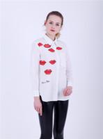 ingrosso camicia a stampa a labbro rosso-Camicetta donna stampa red red le camicette turn-dow camicia bianca asimmetrica OL camicetta personaggio fashion top per 4 stagioni