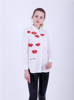 Wholesale red lip print blouse for sale – plus size Women Euro Red Lips Print Blouse Turn Dow Collar Asymmetric White Shirt OL Fashion Character Blouse Tops For Season