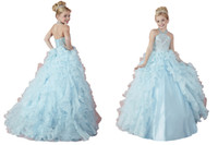 Wholesale Little Girls China - Charming China Blue Children Floor Length Dance Ball Gowns Little Princess Girls Pageant Dresses Beads Custom Made Lace-up Kids Party Gowns