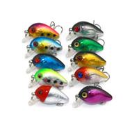 ingrosso basso plastica-HENGJIA 100pcs Super Mini Crankbait Esche da pesca in plastica Lure Bass Wobblers 3cm 1.5g Isca Artificiale Attrezzatura da pesca 10 colori