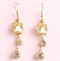 Wholesale Gold Number Charms Cheap - New Christmas Jingling Bell Designer Long Earings Ladies Girls Holiday Party Decor Fashion Charm Dangle Chandelier cheap china jewelry Bling