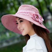chapeaux roses pour femmes achat en gros de-Guibobo 2019 NOUVEAU Femmes Chapeau De Plage D'été Été Sunbonnet Large Bord Gris Chapeaux Anti-UV 55-60cm Large Mode Protection Solaire Et Couleur Rose etc.