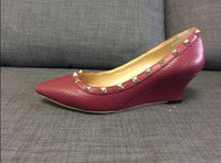 Wholesale Pointy Wedges - actual shoe! designer women fashion u265 genuine grain leather burgundy pointy med heels wedge shoes