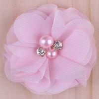 flores artificiales chiffon perla al por mayor-16 colores flores de gasa con perla Rhinestone Centro Artificial tela de flores flores niños accesorios para el cabello bebé diademas flor