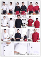 Wholesale Chef Prints - High Quality Long Sleeve Fall Hotel Chef Uniforms Chef Jackets Wear Double Barrel Cooks Apparel New Free EPACKET