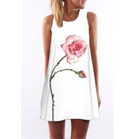 Wholesale Rose Tank Dress - Hot girl women female rose flower print sundress flower tank dress rose floral loose vest dress