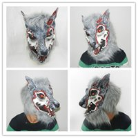 Atacado- Halloween Horror Wolf Mask Full Face Emulsion Headgear Máscara e máscara para festa MC017