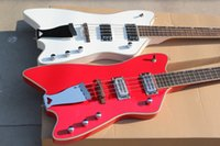 Wholesale Maple Bass - New arrived G6199 Billy Bo Jupiter Thunderbird 4 strings Bass red white two colors free shipping