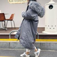 Wholesale Mink Fur Coat Hood - Warm Winter Cotton Down Coat 2016 Women Oversize Parkas Female Down Jacket with mink fur collar hood Long Raccon fox fur