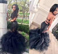 Wholesale Satin Halter Dress Tulle Train - Sexy Black Long Mermaid Prom Dresses Halter Backless Tiered Puffy Train Floor Length Evening Party Gowns Formal Dresses Custom Made