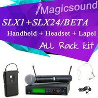 micrófono inalámbrico de karaoke de solapa al por mayor-Sistema de micrófono inalámbrico profesional UHF SLX1 / SLX24 / BETA58 Handheld + Lapel + Headset Vocal Mic completo para Stage DJ