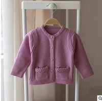 Wholesale Infant Cardigan Sweaters - Baby girls sweaters new sweet kids double-pockets Cardigan sweater children single-breasted Knitting outwear Autumn Infants clothes G0852