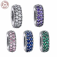 Cuentas De Diamantes De Plata Al Por Mayor Baratos-Comercio al por mayor 5pcs / lot Sólido 925 Sterling Silver Charm Troll Beads con Capas Dobles CZ Diamond Fit Pulsera Brazalete DIY Joyería