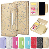 Wholesale Blue Flowers Case - For iphone X 7 8 Plus 6 6s iphone 6 plus 6s Plus 2 in 1 Glitter Flower Wallet Leather Case With Magnetic Detachable Cover