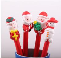 roter stiftkarikatur großhandel-Netter Weihnachtskinderkarikatur-Stift-Schneemann-Weihnachtsmann-weicher Keramik-Kugelschreiber-roter Weihnachtsfertigkeits-Stift scherzt Weihnachtsgeschenk