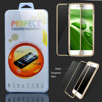 Wholesale Iphone Metal Protector - For iphone 7 6 6s Plus Fashional Metal Frame Full Front Body Covered Aluminium Premium Tempered Glass Screen Protector Film 6 colors