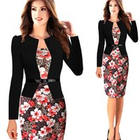Wholesale Cheap Ladies Work Clothes - S-3XL Plus Size Patchwork Women Formal Dresses 2017 Fashion Bodycon Hot Knee Length Office Lady Wear To Work Dresses Cheap Clothing FS0392