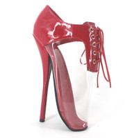 Wholesale Transparent Pvc Red High Heels - Wonderheel Extreme high heel 18cm heel red ballet shoes with transparent PVC lacing sexy women shoes fashion show ballet shoes