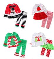 Wholesale Wholesale Bell Bottom Leggings - Christmas trees snowmen Santa Claus children wave point long-sleeved shirt gauze striped bell-bottoms two piece leggings+ girl dress E475