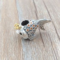 "Wholesale european fishing - Authentic 925 Sterling Silver & 14k Gold Plated Bead ""Russian"" Fairytale Fish Charms Fits European Pandora Style Jewelry Bracelets 792014CCZ"