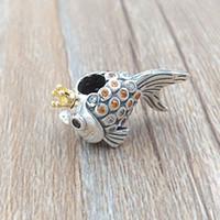 gümüş balıklar toptan satış-Otantik 925 Gümüş 14 k Altın Kaplama Boncuk